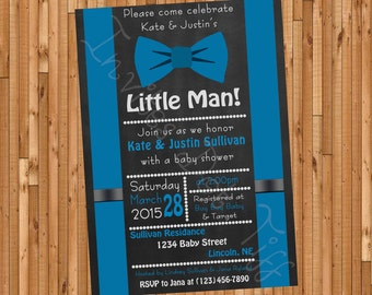 Chalkboard Bow Tie Printable Baby Shower Invitation