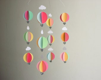 "Hot Air Balloon Baby Mobile ""Queen Tangerine"" - Baby Girl Mobile - Baby Shower Gift - Baby Girl Nursery Decor - Whimsical Baby Mobile - Pink"
