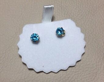 Gold Plated Lake Blue Zircon Earrings