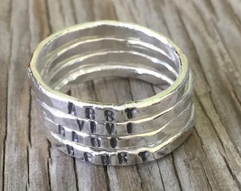 Personalized gift for mom hand stamped fine silver stacking ring- ONE hand stamped  stackable ring custom Mothers Day gift