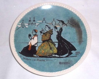 Newell Pottery Co. Norman Rockwell Collector Plate / When In Rome / Third Plate of Rockwell on Tour Set