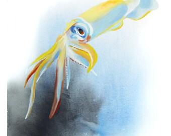 Squid Watercolor Art Print 8x10