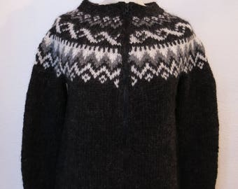 """Handmade Icelandic wool sweater or """"Lopapeysa"""" as we call it, knitted in Iceland."""
