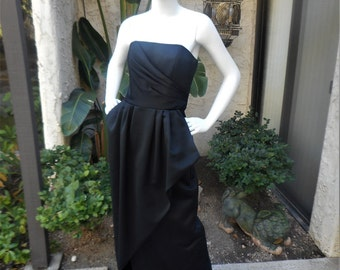 Vintage Victor Costa Black Strapless Evening Dress - Size 10