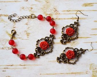 SALE - Vintage Style Red Rose Flower Set, Red Rose Flower Earrings, Red Rose Flower Bracelet, Gift For Her