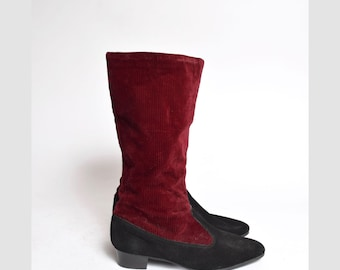 Vintage 90's Burgundy and Black Corduroy and Suede Boots