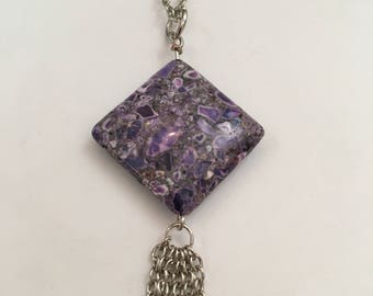 Purple Mosaic Turquoise Chain Necklace