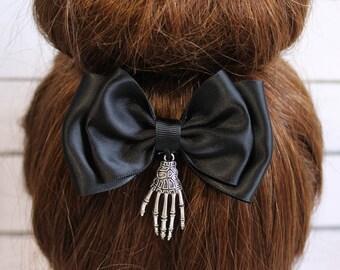 Skeleton Hair Bow, Halloween hair bow, creepy hair bow, skeleton hair clip, black satin bow, skeleton hand hair clip, goth accessories