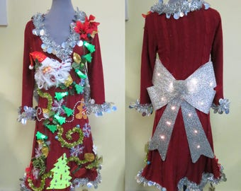 Ugly Christmas Sweater Dress, Red Elegant Mrs Claus Evening Wear, Glam Christmas Sweater Party Dress light up Light up Bow, Sweater Size M