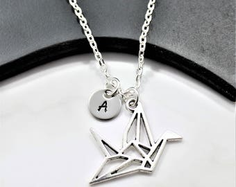 Personalized Origami Crane Necklace - Origami Crane Jewelry - Crane Bird Necklace - Japanese Crane Necklace - Origami Gifts For Kids - Crane