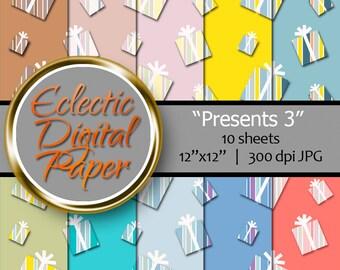 Digital Paper Presents, Presents 3, Digital Birthday Presents, Birthday Presents Paper, Striped Presents, Presents Digital Paper