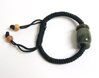 Dark Green Jade with black knotted cord bracelet