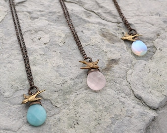 Delicate Flight - 3 stone choices - Amazonite, Rose Quartz and Opalite Necklace