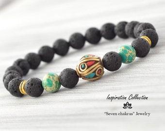 Tibetan Lava Bracelet, Mens Bracelet, Bead Bracelet, Gemstone Bracelet, Yoga bracelet, Black with green bracelet, Lava jewelry, Mens gift