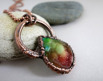 Rainbow Druzy Agate Necklace, Pride Necklace, LGBT Equality Jewelry,  Electroformed Copper,  Unique Handmade Pendant and Chain