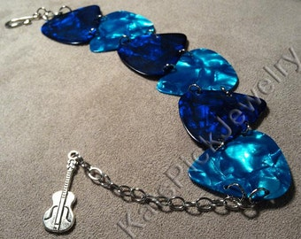 Ocean Themed Blue and Aqua Genuine Guitar Pick Bracelet With Guitar Charm