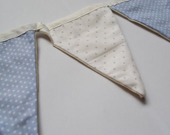 Handmade Baby Blue and White Polka Dot Bunting - 9 Flags