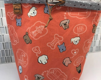 Simple sock sack/project bag dog thoughts in coral