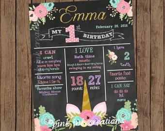 UNICORN Chalkboard Birthday Sign  / Unicorn Chalkboard/Unicorn Face Chalkboard/Birthday Chalkboard Sign/Chalkboard Birthday Poster/PRINTABLE