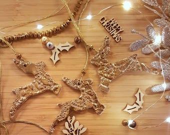 Gold reindeer, set of 3 decorations, gold decorations, Christmas reindeer, gift, secret Santa, lace and gold