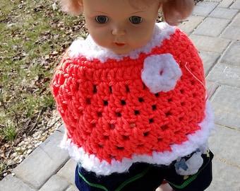 CrochetedToddler poncho, Poncho, Child poncho, Bright poncho, Orange poncho, Girl poncho, Baby Poncho