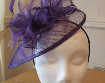 Cadburys Purple Sinamay and Feather Fascinator on a hairband, races, weddings, Ascot, Mother of Bride, Melbourne Cup