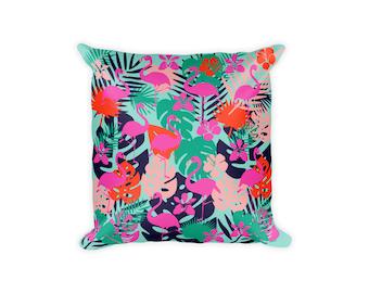 Flamingo Pillow, Tropical Pillow Covers, Printed Pillow, Flamingo Pillowcase, Tropical Pillowcase, Tropical Decor, Decorative Pillows,
