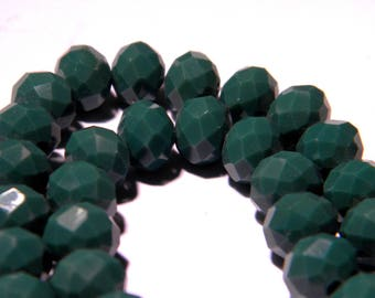 """20 faceted beads-glass 8 mm - way """"jade"""" - green-PG135-6"""