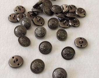Metal buttons round motif Crest 15mm set of 6 pieces anthracite 1 loop thread sewing notions