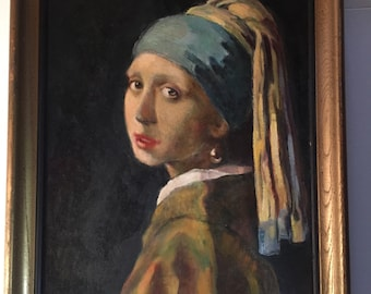 """SALE/////Vermeer Oil Painting  """"Girl With A Pearl"""" copy of Original 1665 Painting"""