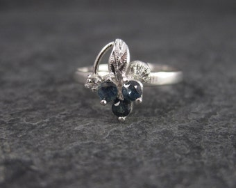 Vintage Sterling Sapphire Grape Cluster Ring Size 8