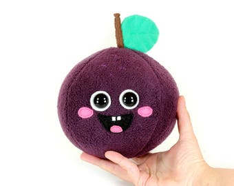 Plum Plush Toy, Fruit Stuffed Toy, Cute Kawaii Fruits,