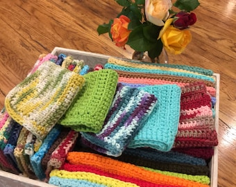 Crochet Dish Cloths, Crochet Wash Cloths, 100% Cotton, Crochet Dish Rag, Wash Rags approx 8x8, Mother's Day gift