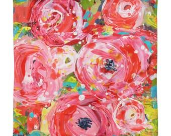 Square Floral Throw Pillow Case. FarmHouse Decor. Pink Roses Pillow Case.