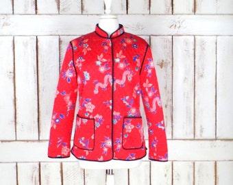 Vintage red quilted silk Asian floral dragon printed jacket/Oriental mandarin collar jacket