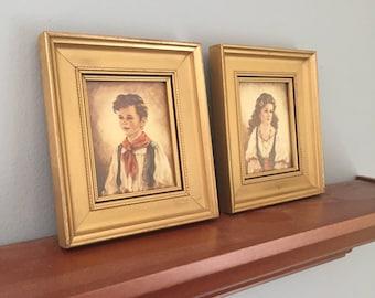 Vintage prints, Elana and Chiko, kitschy decor, gypsy girl and boy, mid century decor