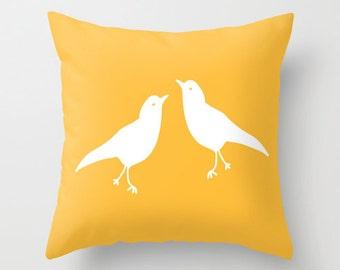 Yellow Bird Pillow Cover, rustic decor, animal pillow cover, love birds pillow cover, spring pillow cover, easter pillow cover, easter decor