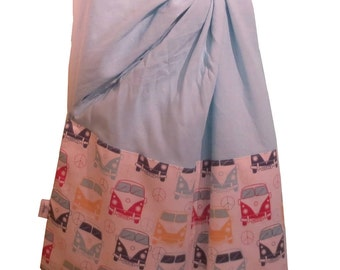 Ring sling blossom, Linen blue sky and Westfalia fabric, Ring sling for baby, Sling in linen, baby carrier, baby wrap