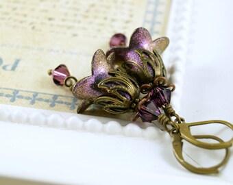 Gothic Purple Lucite Flower Earrings, Hand Enameled, Amethyst