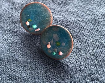 Enameled blue earrings
