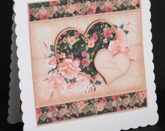 Ref No.24  -  8 x 8 Happy Anniversary Card with Floral Heart