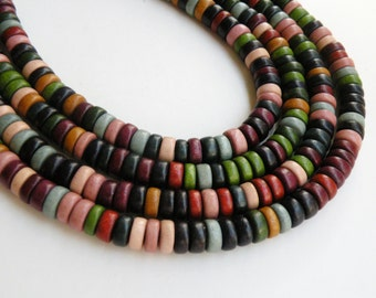 Earth Tone wood beads rondelle fall colors Cheesewood 8x4mm full strand eco-friendly 9712NB