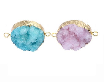 Sparkly Gold Plated Octagon Natural Agate Titanium Druzy Briolette Station Connector Double Bails Gemstone Geode Jewelry TT372