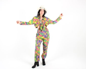 Outrageous 80s Rainbow Tie Dye Print Psychedelic Two Piece Cotton Set - Tie Front Cropped Shirt + High Waist Tapered Pants COMBO