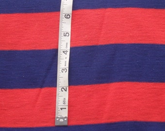"Red & Blue Cotton Jersey Knit, 2"" Stripes, Four-Way Stretch, 58"" Wide x 1 Yard"