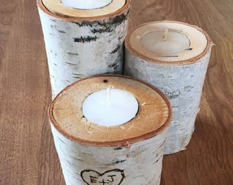 Birch Tea Light Candle Trio