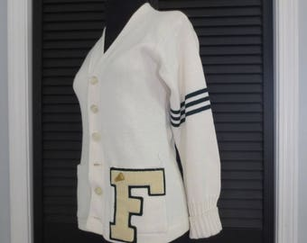 Vintage Ladies Cheer Sweater Varsity Letter Size Small Acrylic White Letter F Cheerleading Cheerleader Costume Prop