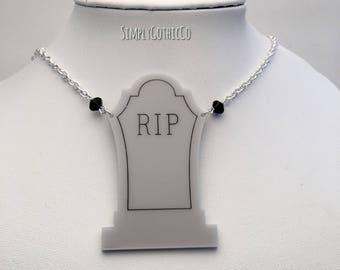 ONE OFF- Gothic Large Tombstone Necklace