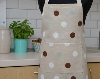 Linen Apron with Dots for Kid - Kitchen apron - Apron with pocket for Kids