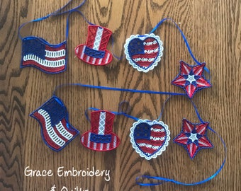 Lace Patriotic Banner/Garland, Photography Prop